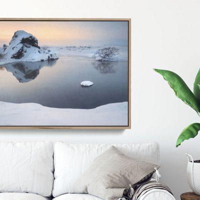 Frozen snowy lake Iceland