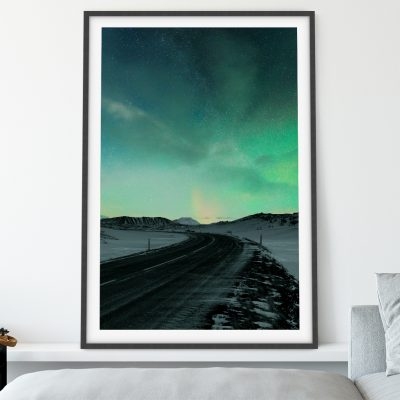 Aurora over highway